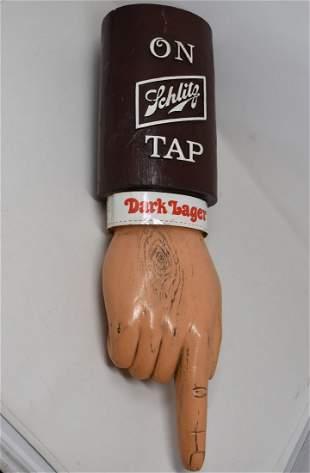 """Vintage Schlitz """"Pointing Finger"""" Dark Lager Beer Sign"""
