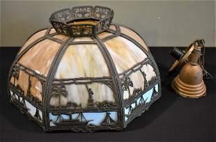 Antique Slag Glass Lamp Shade/Fixture NY Harbor