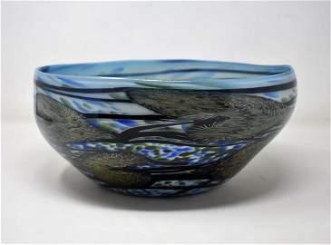AMAZING Charles Lotton Art Glass Centerpiece Bowl Blue