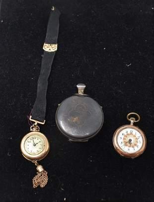 2 Antique Ladies Pocket Watches & Sterling Case
