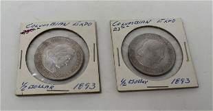 2 Columbian Exposition Silver Half Dollars 1983