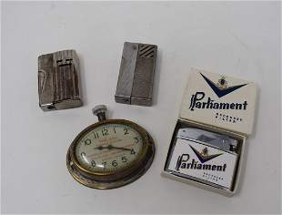 Vintage Advertising Clock and Lighters oil & gas