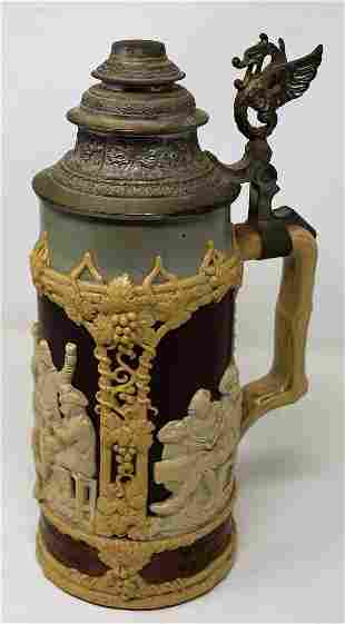 Mettlach #1005 1 Liter Relief Beer Stein