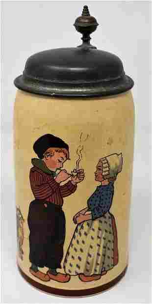 Mettlach 1/2 Liter #1236 Beer Stein Kids Smoking Pipe