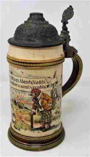 Mettlach 1/2 Liter #2140 Beer Stein Rooster