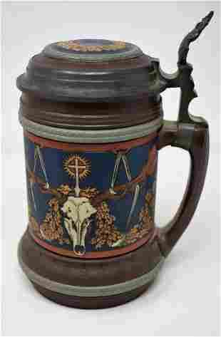 Mettlach 1/2 Liter Inlay Beer Stein #2813