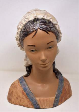 Lladro Large Bust of a Maiden Matte Finish