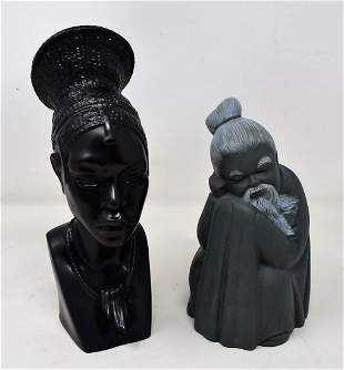 Lot of 2 Lladro African Woman & Chinese Man