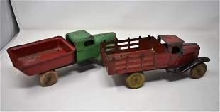 2 Vintage Tin Trucks