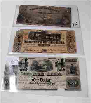 Lot of 3 Vintage Bank Notes