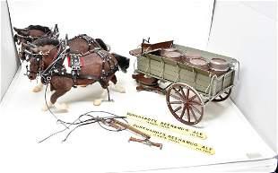 2 Flocked Breyer Horses w Beer Wagon