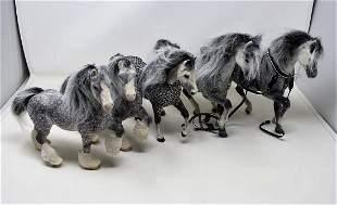 5 Flocked Breyer Dapple Horses