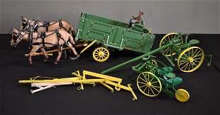 Breyer Horses with John Deer Implements, tack