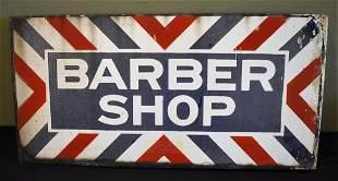 Vintage Porcelain Barber Shop Flange Sign