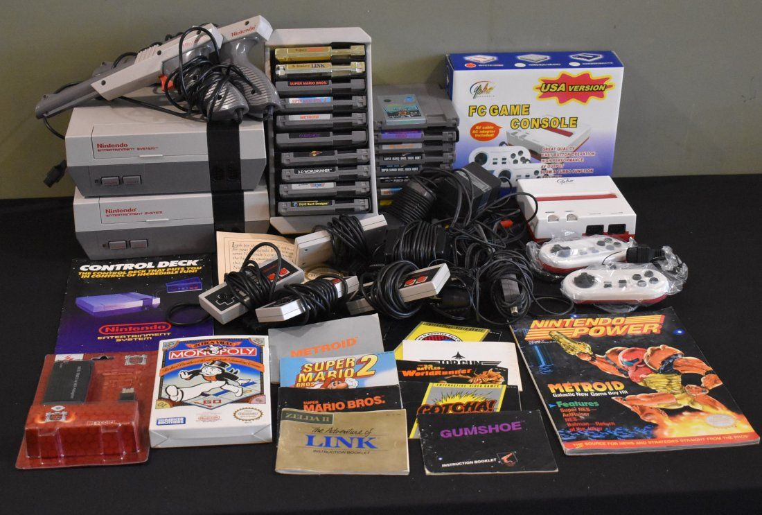 Nintendo NES 3 System & 20 Game Lot W/ cords & Acc.