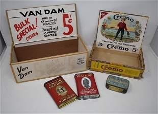 Lot of 3 Vitnage Tobacco Tins & 2 Cigar Display Boxes