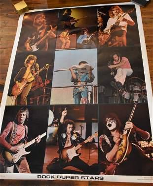 """Vintage 1976 """"Rock Superstars #1"""" Poster Large"""