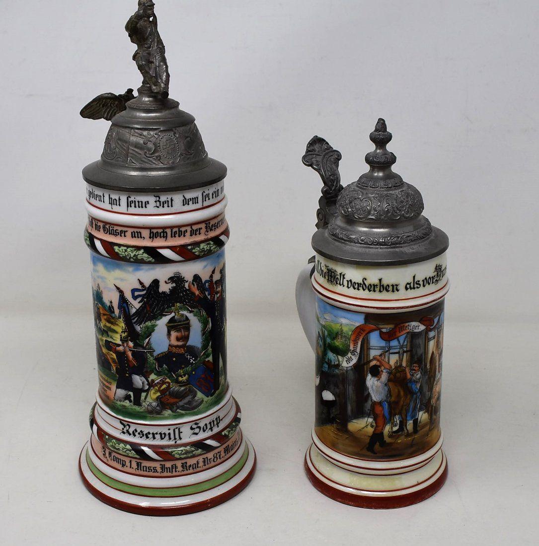 Pair of Early Regimental & Occupational Beer Steins