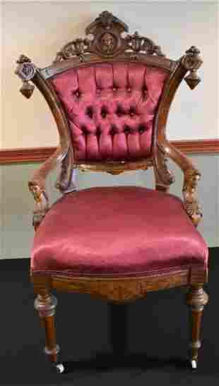 Antique Horner Carved Figural Arm Chair