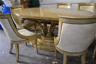 Cool Vintage Hollywood Regency Dining Table & Chairs