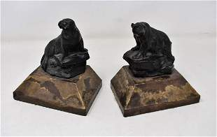Pair of Vintage Bookends Bear Walrus