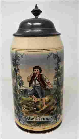 2 Liter German Beer Stein with Bowling Scene