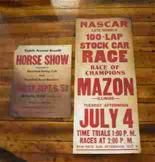 2 Vintage Posters Horse Show, Stock Car