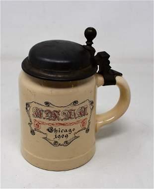 1909 AMDA Chicago Convention Mettlach Beer Stein