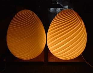 """AMAZING Pair of 17"""" Murano EGG Lamps"""