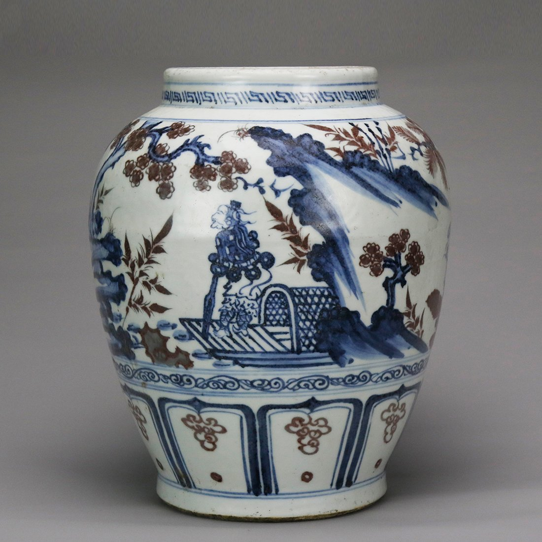 China 15 Century blue and white glazed red ceramic pot