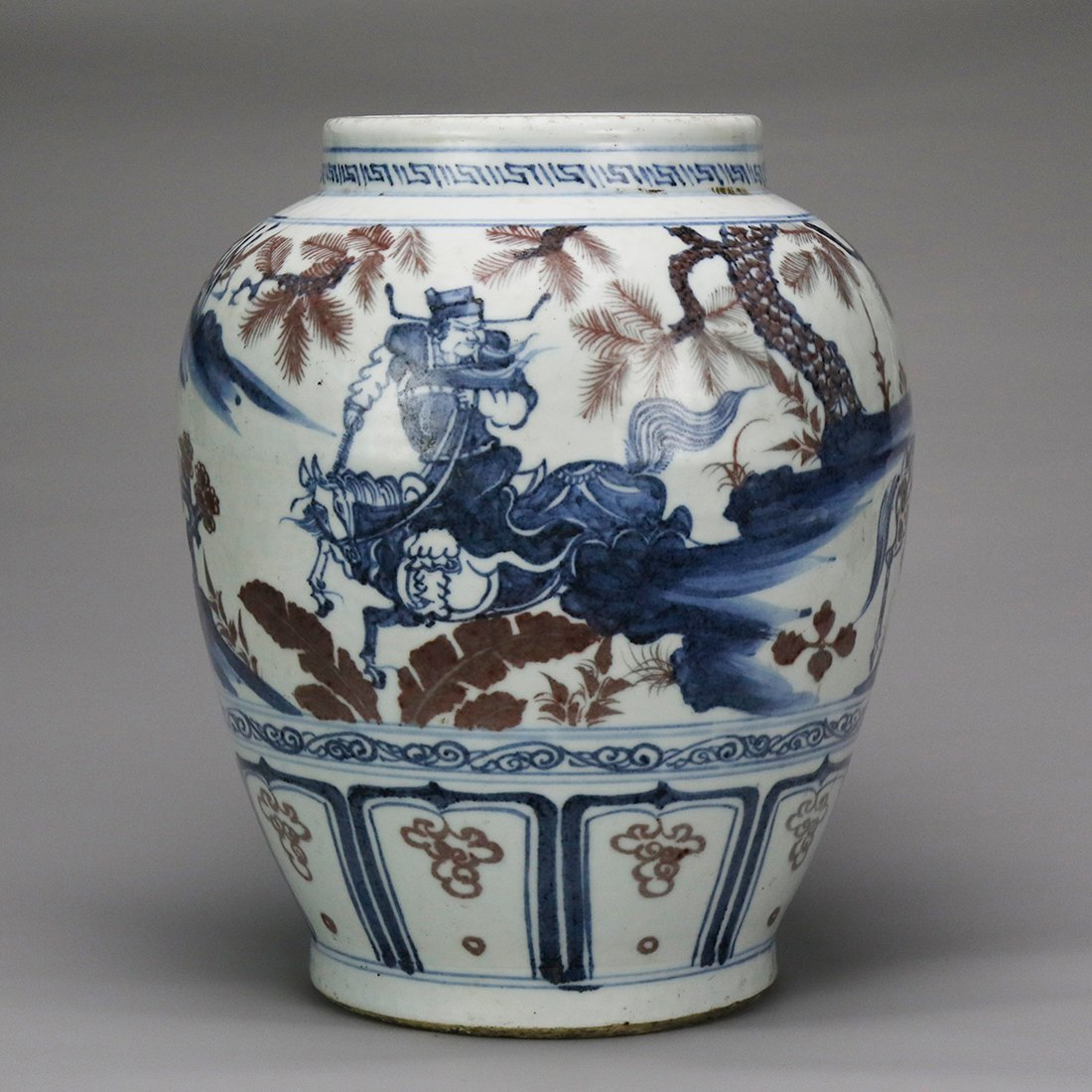 China 15 Century blue and white glazed red ceramic pot - 2