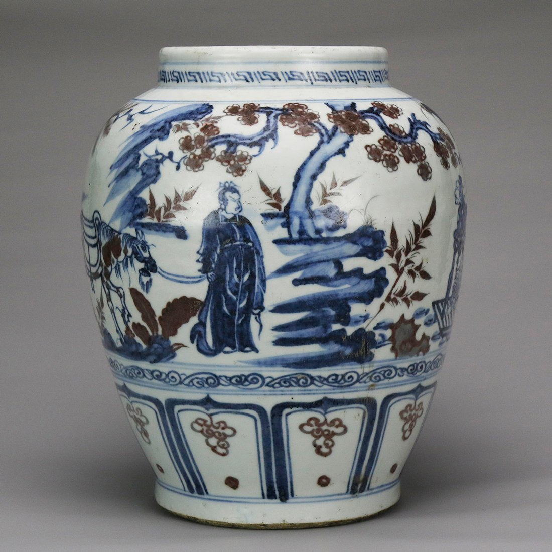 China 15 Century blue and white glazed red ceramic pot - 4
