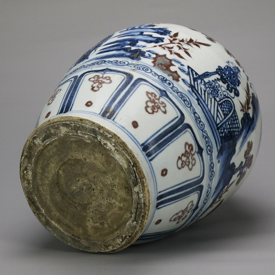 China 15 Century blue and white glazed red ceramic pot - 5