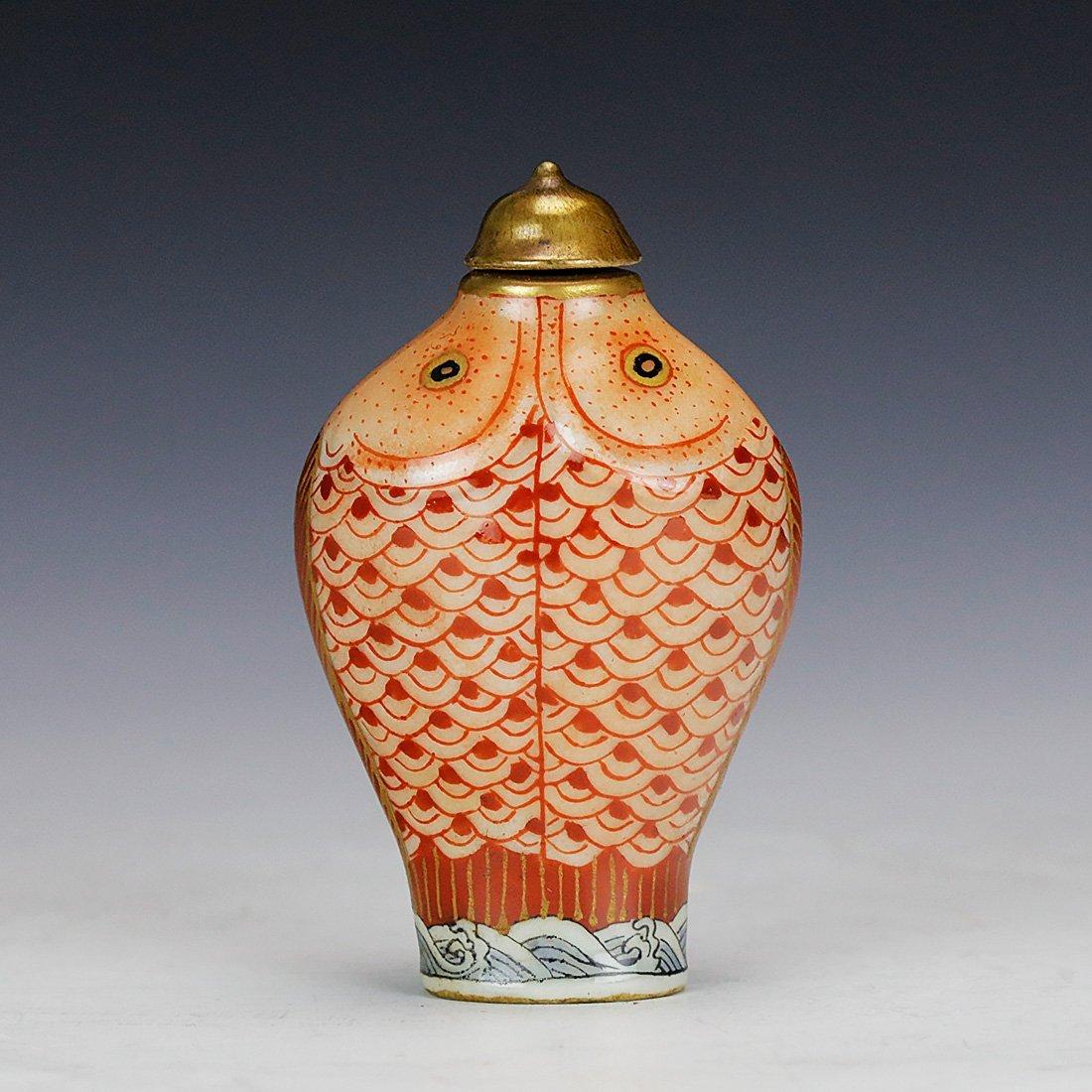 Qianlong ceramic snuff box Hand painted gold 18 century - 3