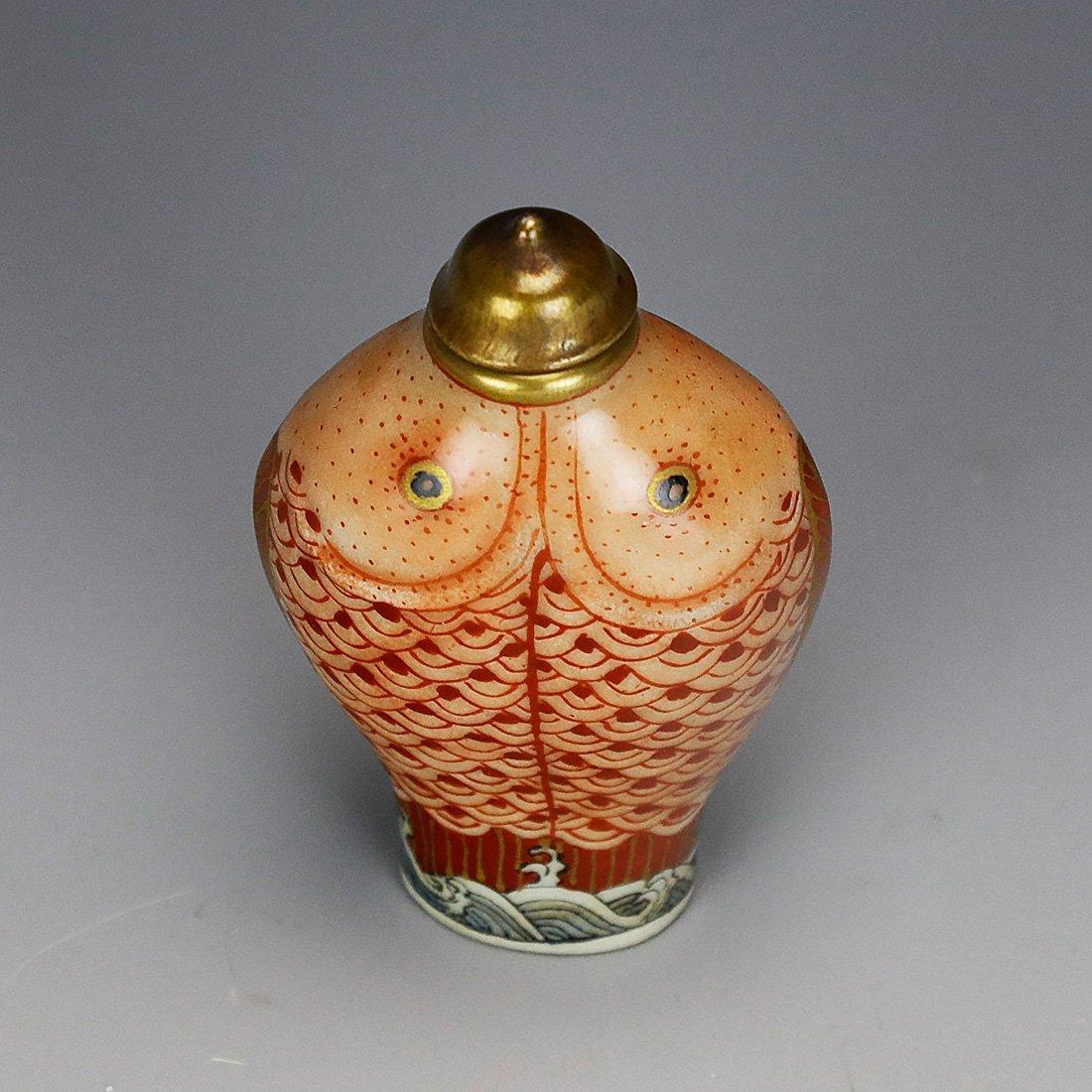 Qianlong ceramic snuff box Hand painted gold 18 century - 8