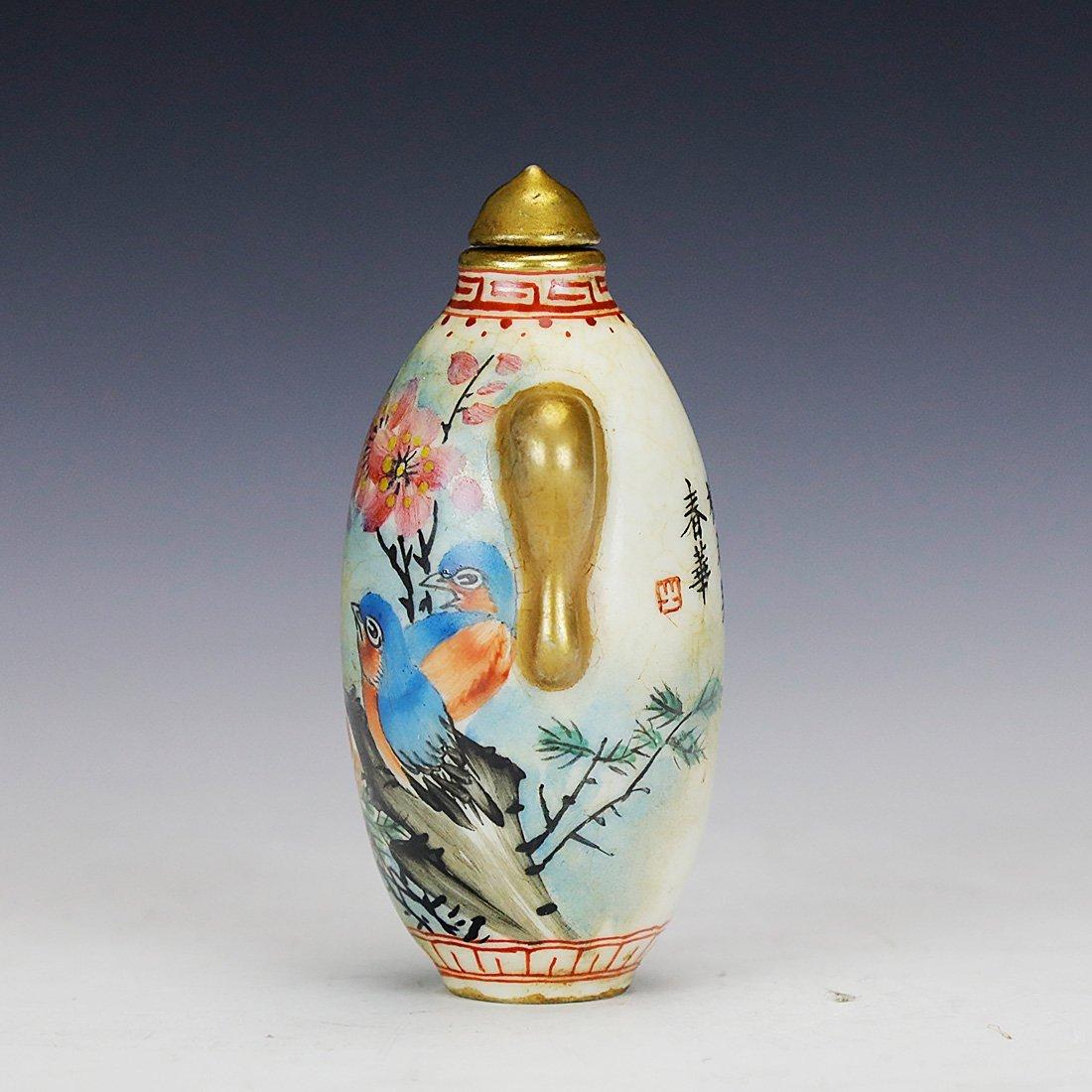 Handmade flower and bird ceramic snuff bottle,Qian Long - 2