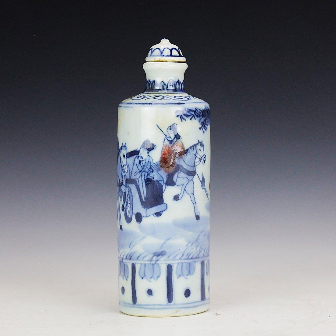 China 18 Century blue and white snuff bottle