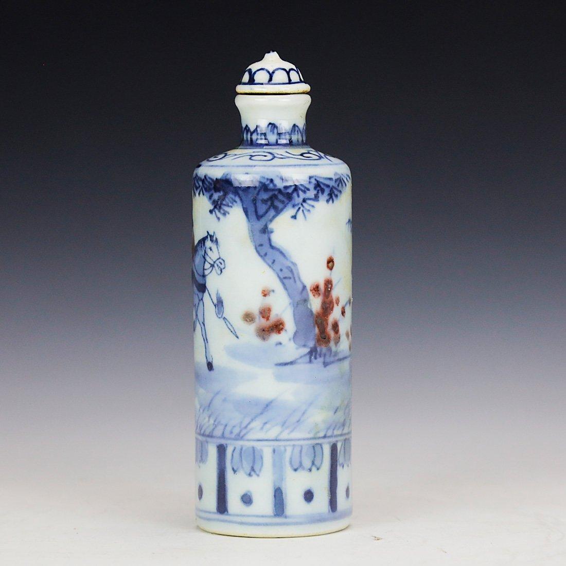 China 18 Century blue and white snuff bottle - 2