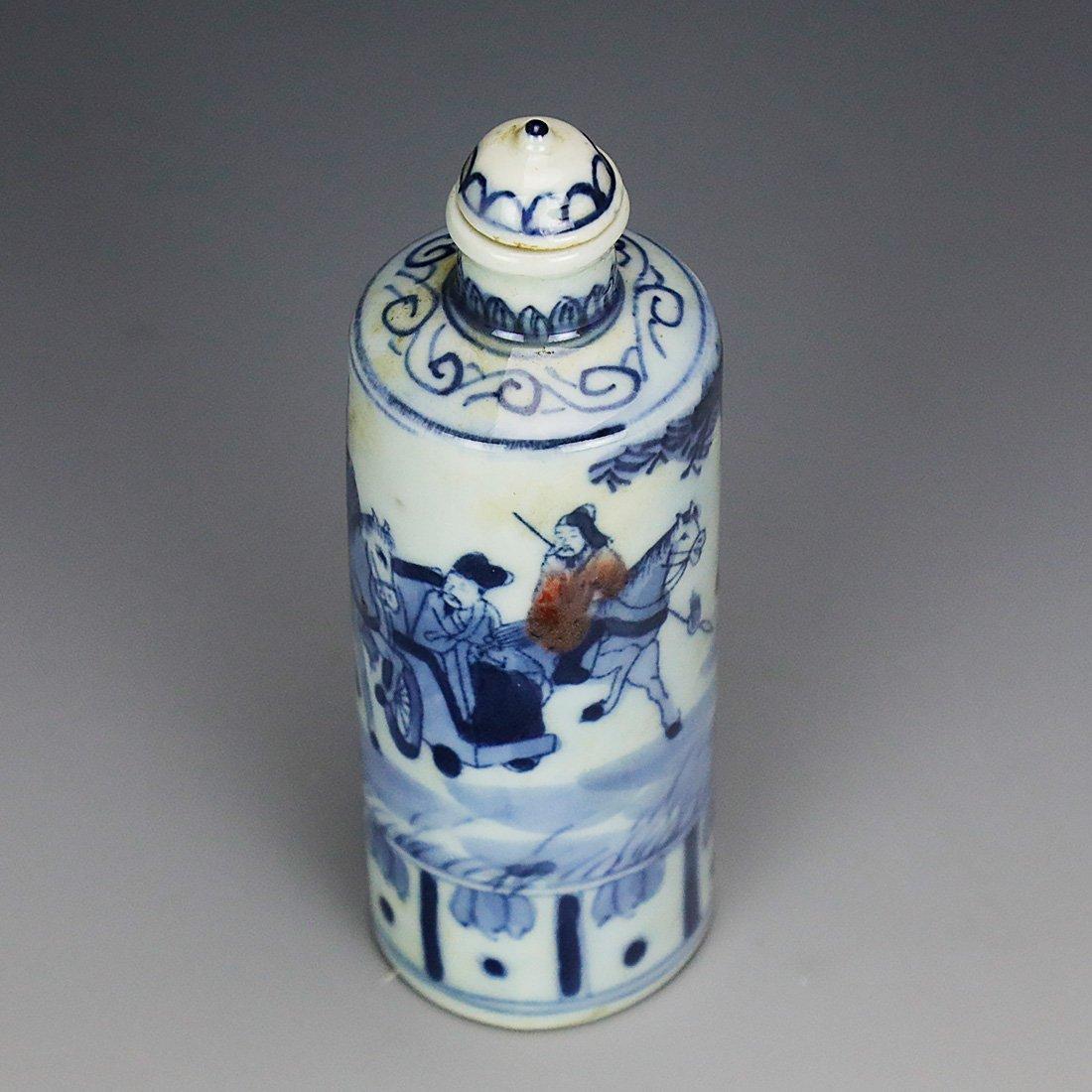 China 18 Century blue and white snuff bottle - 6