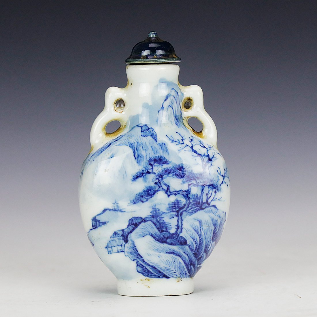 Chinese Collectible Blue And White Porcelain Ancient landscape Snuff Bottle 3