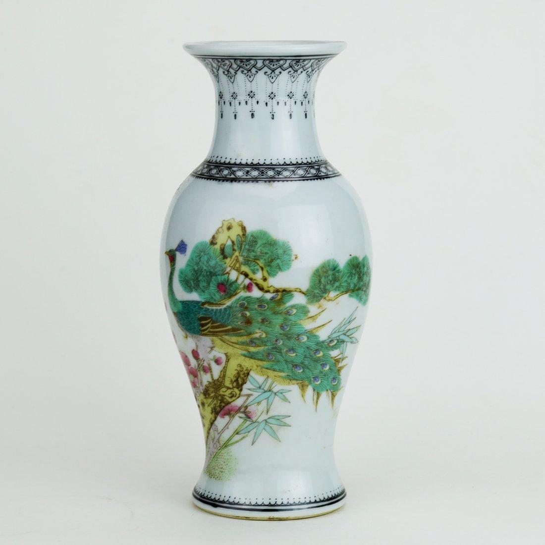 Jingdezhen pastel peacock ceramic vase,19 Century
