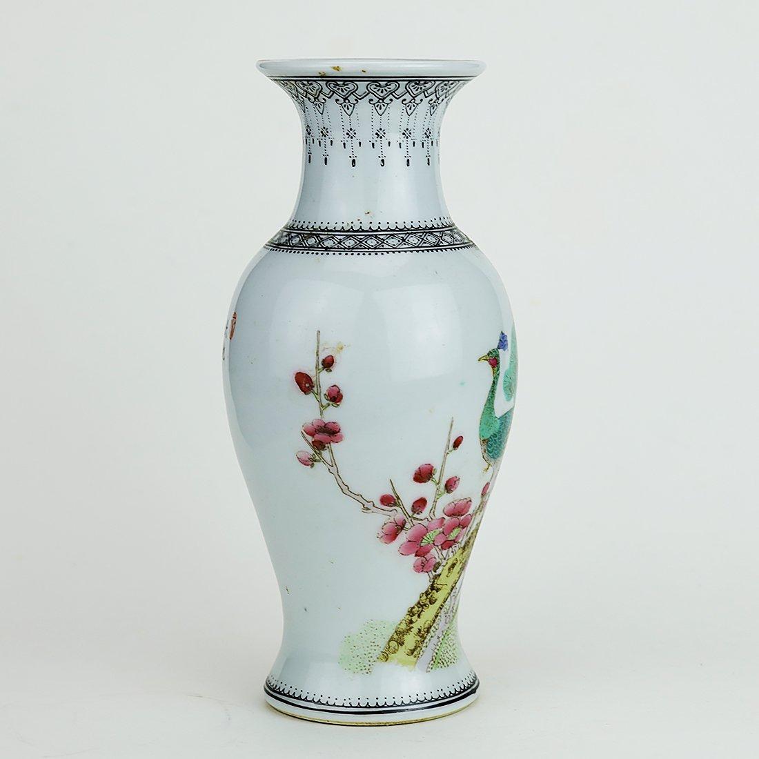 Jingdezhen pastel peacock ceramic vase,19 Century - 3