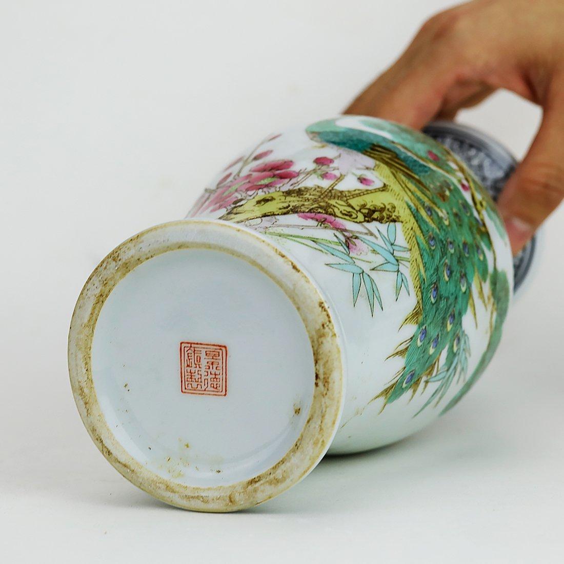 Jingdezhen pastel peacock ceramic vase,19 Century - 5