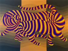 Victor Vasarely - Two Tigers on Gold