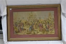 Tapestry of European market scene  Vivid pastel