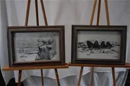 Pair of prints by Florence Malewotkuk, Behring Sea