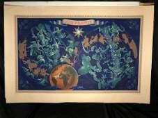 Original Air France Zodiac Map Lucien Boucher