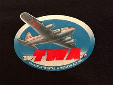 TWA Luggage Label  Decal Trans Continental  Western