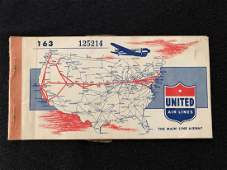 United Airlines 1946 Passenger Ticket and Baggage Check
