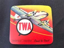 TWA Sticker  Decal  Luggage Label